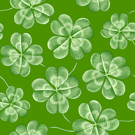luck: Engraved seamless pattern with four leaf clover