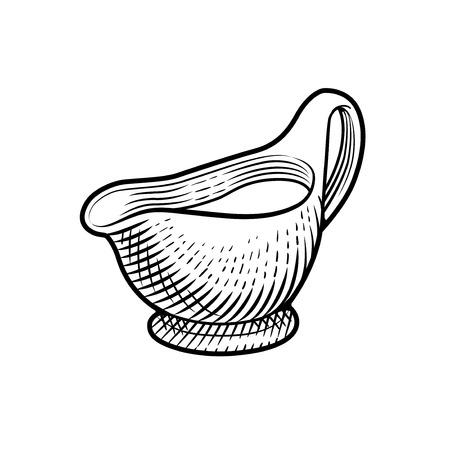 gravy: sauce gravy or sauceboat with cream Illustration