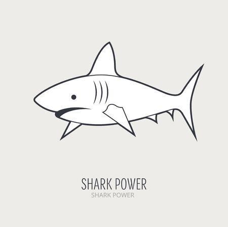 pez martillo: icono de estilo de línea con el tiburón Vectores
