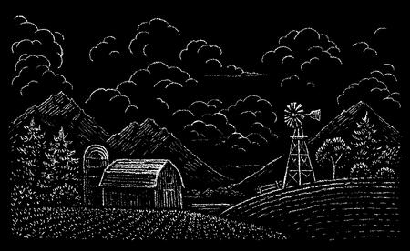 Chalk drawing of rural landscape on blackboard