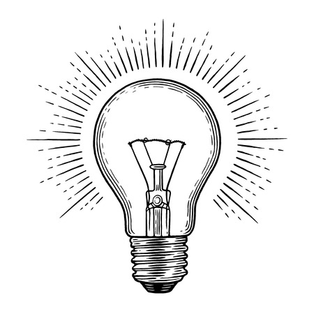Light bulb engraving illustration.