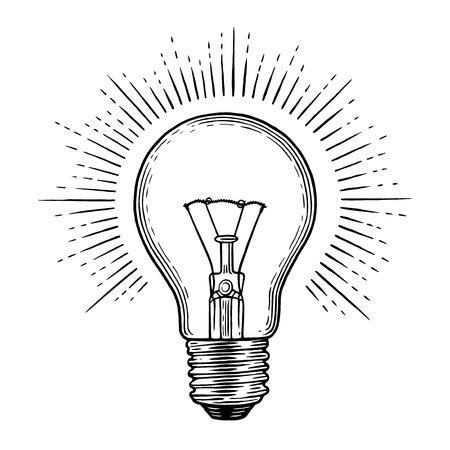 Light bulb engraving illustration. Illustration