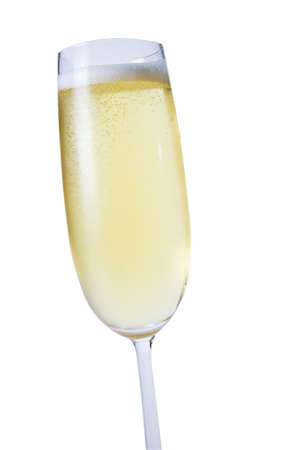 One glass of champagne on isolated white background