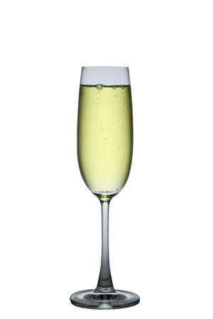 One glass of champagne on isolated white photo