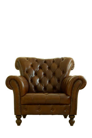 genuine leather armchair classical style on white background, Isolated