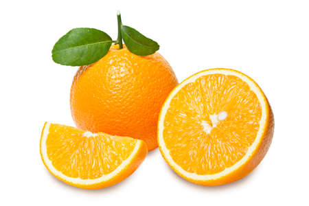 Orange with slices  isolated on white background.