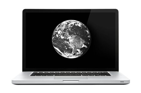 Laptop computer on isolated white. Earth on screen. Stock Photo