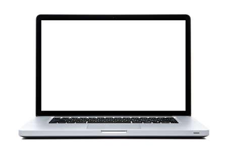 computer netzwerk: Laptop-Computer-Wei�-Bildschirm auf wei� isoliert