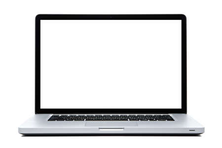 macbook: Laptop computer white screen isolated on white Stock Photo