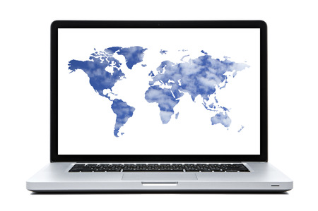 Laptop computer with  World map on screen.