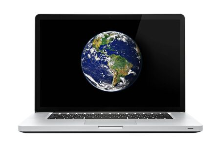 laptop screen: Laptop computer on isolated white. Earth on screen. Stock Photo