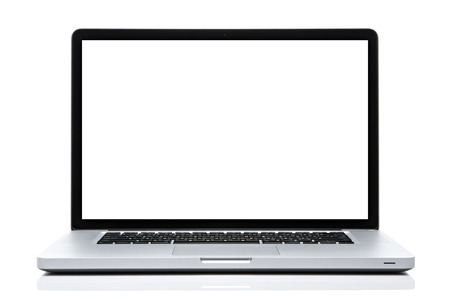 Laptop computer white screen on isolated white.