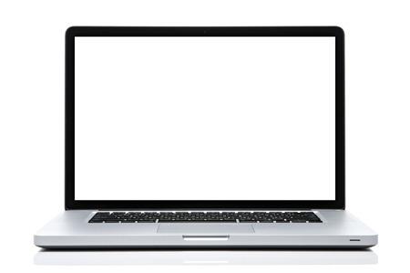 Laptop computer wit scherm op geïsoleerde wit.