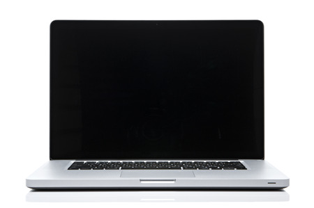 Laptop computer black screen on isolated white. Stock Photo