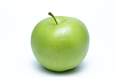 Green apple on white background.