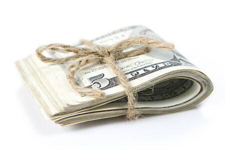 Folded of dollar bills