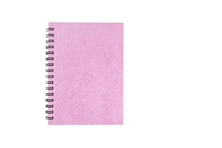 Pink notebook on isolated white