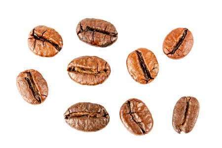 Close up of coffee beans. Isolated on white background.