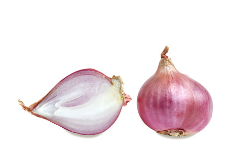 red onion: Shallots and slice isolated on white Stock Photo