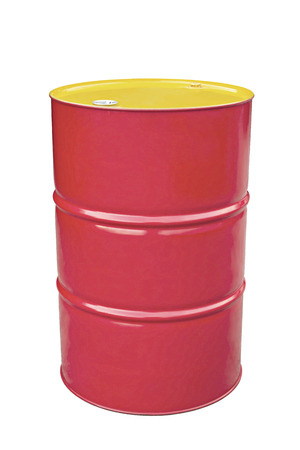 Pastel red metal barrel isolated on white.
