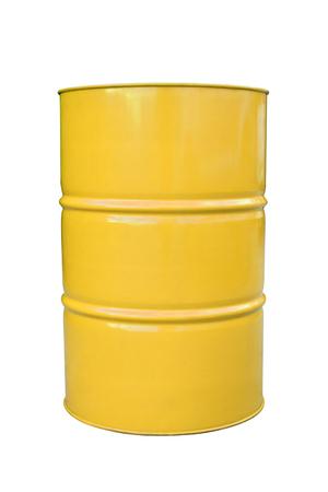 opec: Yellow metal barrel isolated on white.