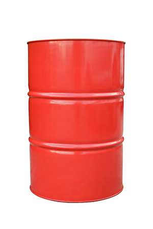Red metal barrel isolated on white.