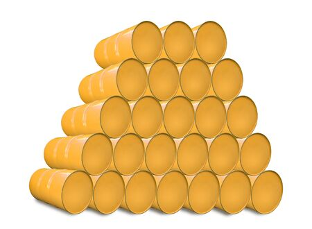 opec: Yellow metal barrels isolated on white. Stock Photo