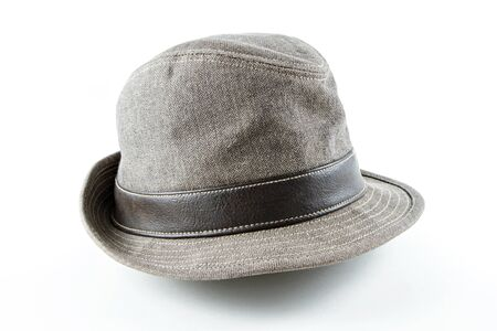 stylish men: Dark brown fabric hat on white background Stock Photo