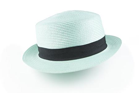 stylish men: Aqua hat on white background Stock Photo