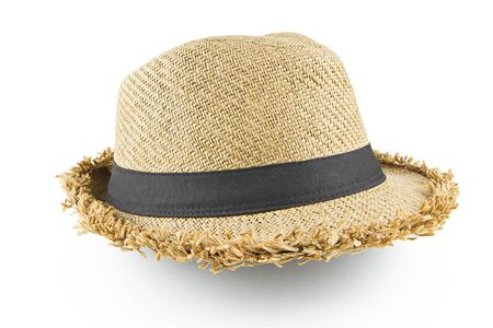 a straw: Fedora hat on white background