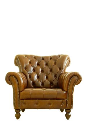 leather armchair: Leather armchair classical style isolated on white. Clipping path.