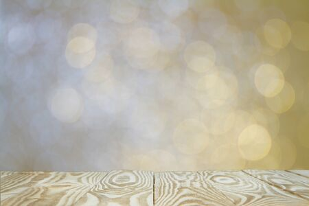 christmas backdrop: Wooden with abstract bokeh background. Stock Photo