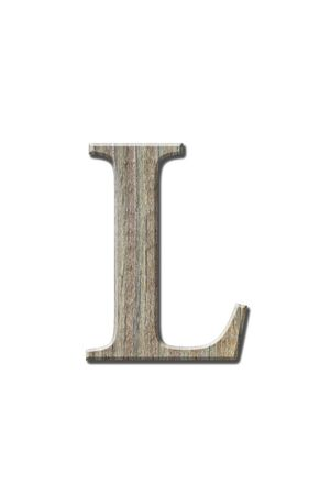 l natural: Woonden letters isolated on white. Clipping parth.
