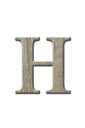 h: Woonden letters isolated on white. Clipping parth.