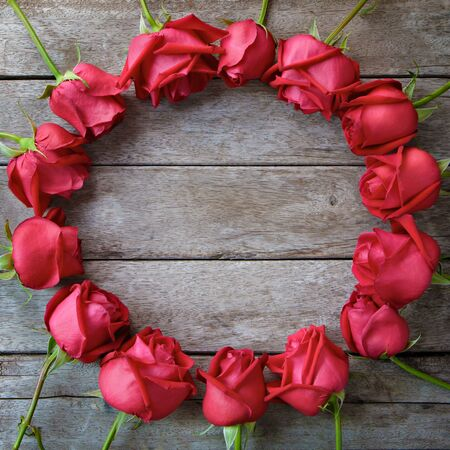 Circle of rose for valentine' s day, anniversary and congratulations.