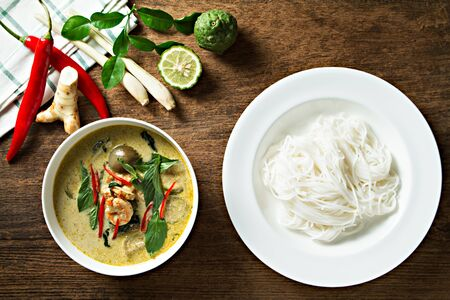 Green curry with shrimp and rice noodles. Thai cuisine. kang keaw wan
