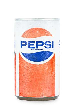 Bangkok, Thailand - March 3, 2016 : Retro Pepsi can isolated on white. Pepsi was created and developed in 1893 and distributed since in 1903 under the trademark  Pepsi - Cola.