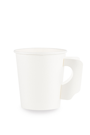 White paper coffee cup isolated on white. Clipping path. Banco de Imagens