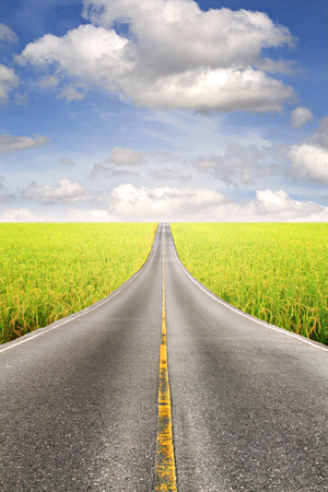 Asphalt road through the rice field and clouds on blue sky in summer day. Stock Photo
