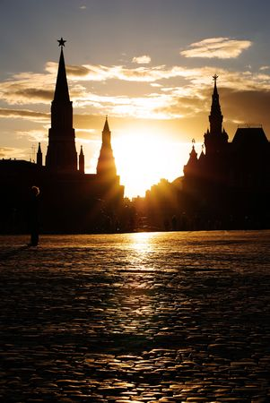 The Towers of Moscow Kremlin, Red Square, sunset Stock Photo - 7361474