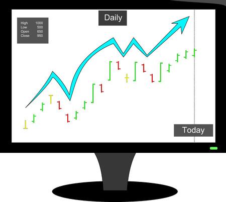 bullish: Elliot bullish stock bar chart Illustration