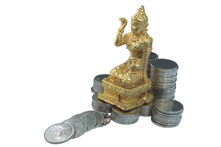 local business: A Thailand goddess of fortune over Thai baht money. Local business shop believe that worship she and business will gain fortune. Local folk believe that she will bring happiness and fortune to family