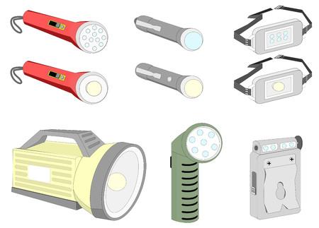 heavy duty: Various kind of flash lights Illustration