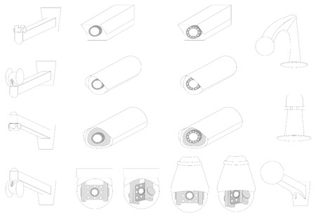 ip camera: Various kind of CCTVs and various kind of mounts Illustration