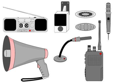 am radio: Voice Mass telecommunication devices set Illustration
