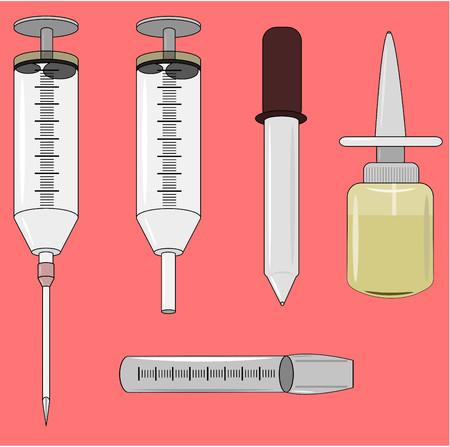 syring: Medical Injectors set   Illustration