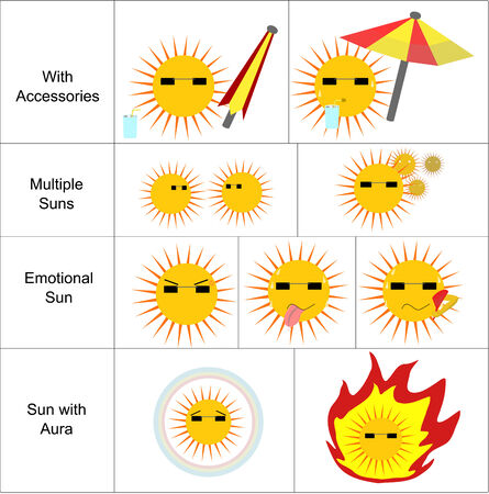 hotter: Various Sun expression and action icons set