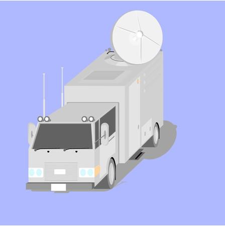 tele communication: Satellite uplink truck vector graphic