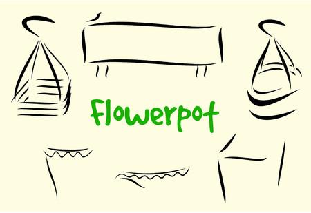 plant stand: Flowerpot minimalist vector Illustration