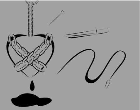 tormented: Minimalist design of hanged chained black heart with black blood bleeding  Illustration